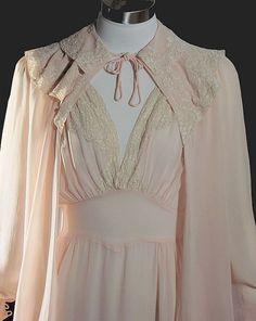 Silk Chiffon 1930's Peignoir - Nightgown & Robe
