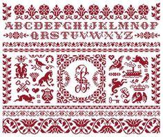 Marquoir Rouge - Marquoir au point de croix de Clorami Designs. www.clorami-designs.be