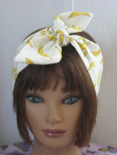 Hair Bandana, Summer BANANAS BANDANA  Headband, Hair Accessory, HairBands Women, Hair Bandana, TieUp Bandana, Women HairBand by StitchesByAlida on Etsy