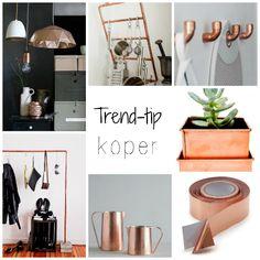 Koper is een #trend die blijft, zowel als kleur als in materiaal. Van lampen, vaasjes en masking tape tot plantenbakken. Combineert mooi met wit en hout en voor een industriële stijl mooi met beton. Ideaal voor #diy, je haalt koperen delen en buizen ewoon bij de bouwmarkt!