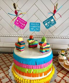 Rendering the Actually Existing Sharing Economy Visible: Home-Grown Food and the Pleasure of Sharing. Mexican Birthday Parties, Mexican Fiesta Party, Fiesta Theme Party, Mini Pinatas, Fiesta Decorations, Themed Cakes, Party Cakes, Wedding Cake Toppers, Cake Decorating