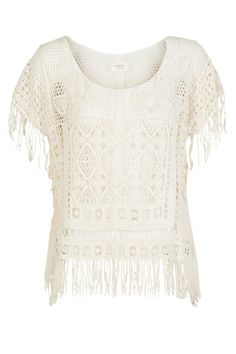 Crochet lace kaftan style top with fringed edge. Cream in colour. This gorgeous top is a summer wardrobe must have - great weekend style!  Yua Shirt by Nümph. Clothing - Tops - Short Sleeve Bromley South London London