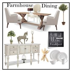 """Farmhouse Dining"" by doragutierrez ❤ liked on Polyvore featuring interior, interiors, interior design, home, home decor, interior decorating, Jo Malone, Home Decorators Collection, Levtex and One Hundred 80 Degrees"