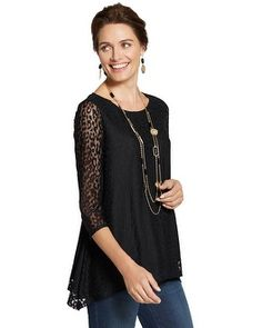 A tunic-inspired top with a shark-bite hem. Sheer sleeves show off the leopard-spotted lace.