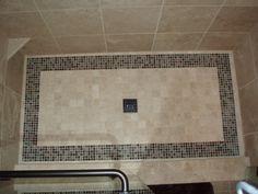 Shower floor with boarder. Bathroom Design Small, Bathroom Designs, Bathroom Ideas, Shower Floor, Bath Remodel, Bath Mat, Floors, Powder Rooms, Bathroom Remodeling