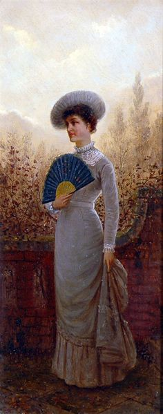 Charles Frederick Lowcock - Elegant Lady in a Garden Holding Fan - Mitchell Studio Gallery 1900s Fashion, Elegant Woman, Fashion Portraits, Jouer, Gallery, Artist, Artwork, Fans, Pictures