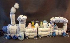 Diaper Cake Train Baby Shower Gift Centerpiece in Baby, Diapering, Diaper Cakes   eBay