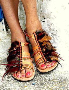 """Sandales spartiate """"Moana"""" (la main sur commande)"""
