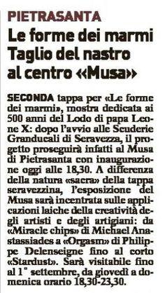 Pietrasanta - taglio del nastro al MuSA per l'evento le Forme dei marmi La Versilia Medicea 500 anni dopo Sacro e Profano nella contemporaneità