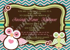 Fancy Owls Baby Shower Invitations/Announcements