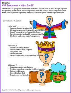 Old Testament Who Am I? (Puzzle) - Kids Korner - BibleWise