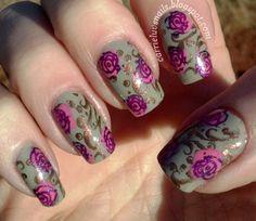 Vintage rose nail stamping design