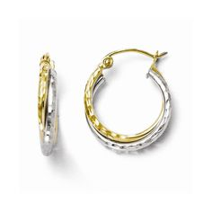 10k Gold Diamond Cut Hinged Hoop Earrings, Women's
