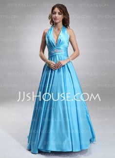 Prom Dresses - $117.99 - Ball-Gown Halter Sweep Train Satin Prom Dresses With Ruffle Beading (018002743) http://jjshouse.com/Ball-gown-Halter-Sweep-Train-Satin-Prom-Dresses-With-Ruffle-Beading-018002743-g2743