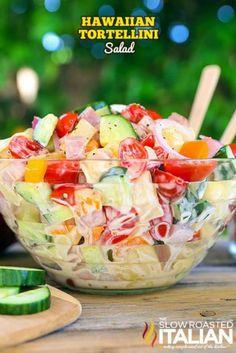 Hawaiian Tortellini Salad is a blend of your favorite island flavors in a fabulo. - Hawaiian Tortellini Salad is a blend of your favorite island flavors in a fabulously bright, sweet - Pasta Salad With Tortellini, Best Pasta Salad, Summer Pasta Salad, Pasta Salad Recipes, Summer Salads, Cheese Tortellini, Healthy Summer, Food Salad, Meat Recipes