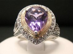 VICTORIA WIECK TWO TONE 925 STERLING SILVER PEAR SHAPED AMETHYST FRAME RING