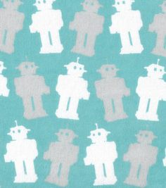 Snuggle Flannel Fabric Baby Robots Blue