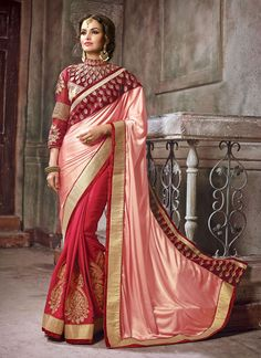 Authentic elegance comes out as a results of the dressing style with this red faux crepe and velvet designer saree. The ethnic embroidered, patch border, resham and zari work with the attire adds a si...