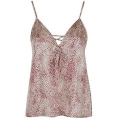 TOPSHOP **Don't Cross Me Cami by WYLDR ($68) ❤ liked on Polyvore featuring intimates, camis, red, topshop, leopard print camisole, leopard cami, leopard camisole and leopard print cami