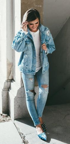 #fall #outfits women's blue denim jacket and distressed fitted jeans outfit