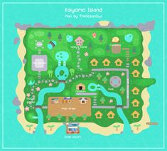 I wasn't satisfied with my previous island design, so I made a new one! Animal Crossing Qr, Animal Crossing Villagers, Animal Crossing Pocket Camp, Motif Acnl, Map Layout, Island Map, Map Design, Design Ideas, Animal Games