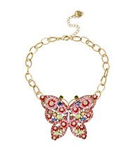 Betsey Johnson® Pink/Green Butterfly Frontal Necklace
