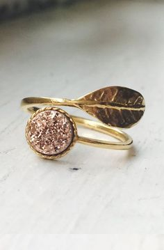 Delicate and Elegant Titanium Rose Gold Druzy Quartz Leaf Adjustable Rings