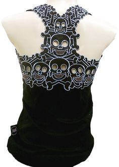 Rockabilly Rockabilly Punk Rock Baby Tattoo Tiki Skull Tank Top - Fashion Tops