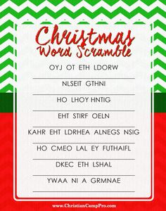 Christmas word scramble printable - This is the FREE PRINTABLE that goes with our popular Christmas Word Scramble Game. Check it out today for your next holiday event. Printable Christmas Games, Christmas Bible, Christmas Games For Kids, Christmas Words, Christmas Party Games, Christmas Fun, Christmas Trivia, Holiday Games, Holiday Decorations