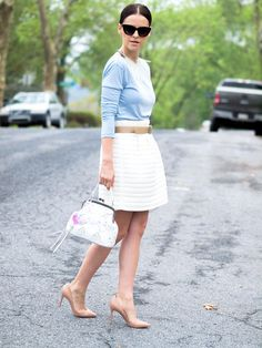 bittersweet colours, summer, full skirt. toggery top, pastels, baby blue, christian louboutin, asos sunglasses, street style, ladylike, bizi buenos aires bag  #Toggery #Louboutin #pastels