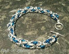 Chainmaille Bracelet, Byzantine, Uk Shop, Blue And Silver, Swag, Charmed, Facebook, Bracelets, Crafts