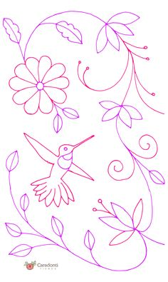 Mexican Embroidery, Bird Embroidery, Hand Embroidery Patterns, Applique Patterns, Beaded Embroidery, Embroidery Stitches, Embroidery Designs, Rock Painting Designs, Flower Coloring Pages