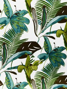 PALMA/PERLA PATINA (Outdoor) #blue-turquoise #botanical-floral #green #print-fabrics #tropical