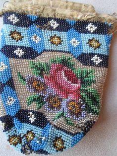 Antique Multicolor Blues Rose Floral Micro Beaded Purse Base
