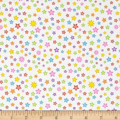 Welcome to My World Stars White from @fabricdotcom  Designed by Sue Marsh for RJR Fabrics, this cotton print fabric is perfect for quilting, apparel and home decor accents. Colors include white, yellow, lime, blue, pink, orange and purple.