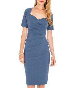 Denim blue sweetheart neckline dress by Goddiva on secretsales.com - great for weddings etc