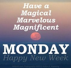 Wishing everyone a magical, marvelous, magnificent Monday! Happy New Week! Monday Inspirational Quotes, Happy Monday Quotes, Monday Motivation Quotes, Motivational Monday, Monday Humor, It's Monday, Thursday Motivation, Wednesday, Tuesday