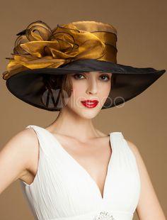 Women s Vintage Hat Organza Flower Feather Wide Brim Retro Hat -  Milanoo.com Hats For 2171c925755d