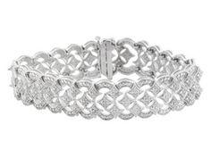 3.00 cttw Round Diamond Scalloped Sterling Silver Bracelet