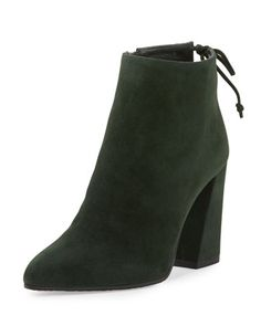Grandiose+Suede+Pointed-Toe+Bootie,+Forest+by+Stuart+Weitzman+at+Neiman+Marcus.