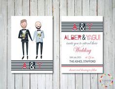 Invitación de boda gay, ilustrada y personalizada de ThePaperberry en Etsy