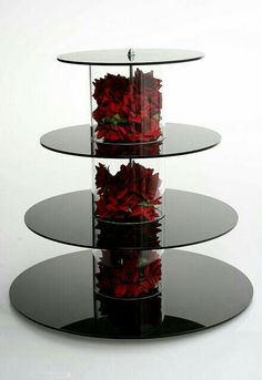 cupcake stand with red silk roses.You can find Cupcake towers and more on our website.cupcake stand with red silk roses. Cake And Cupcake Stand, Cupcake Towers, Cupcake Cupcake, Cake Stands Diy, Cupcake Display, Cupcake Ideas, Black Cupcakes, Cupcakes Base, Deco Floral