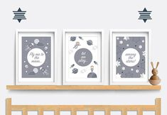 Hi There! This listing is for my own original artwork. No clipart or stock images are used! Fly me to the moon, let me play among the stars! This beautiful set of prints featuring space ships, planets and stars would be perfect for a baby boy or girl in a space themed nursery!