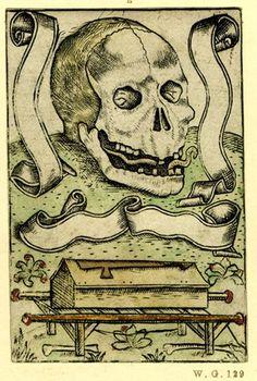 Memento Mori Engraving with hand-colour - Netherlandish - 1500-1525
