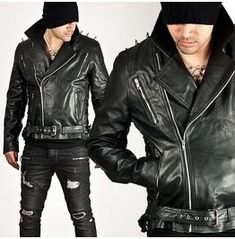 Outerwear - Shoulder pointed stud accent side eyelet black leather rider jacket - 62 for only ! Leather Men, Black Leather, Leather Jackets, Blazers For Men Casual, Riders Jacket, Jacket Brands, Leather Dresses, Fashion Moda, Lace Up Boots