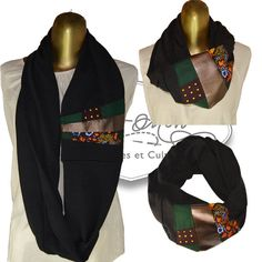 Long Scarf, neck warmer, double face, woman, man, knit, black, brown… African Print Fashion, African Fashion Dresses, Fashion Outfits, Kitenge, African Men, Long Scarf, African Fabric, Neck Scarves, Ankara Styles