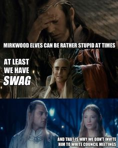 And that is why the Mirkwood Elves are not invited to Council Meetings. Thranduil Funny, Legolas And Thranduil, Mirkwood Elves, Lotr Elves, Elf Memes, Funny Memes, Elf Funny, Hilarious, Movie Memes