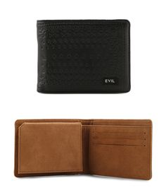 Rised Wallet by Evil Army. Bi-fold wallet made from synthetic leather, with black color, cash compartment, multi card slots, Evil signature logo,  coin pouch, card slots, brown pu leather interior, simple wallet for everyday use. http://www.zocko.com/z/JJ3Pp