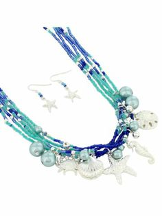 Seed Bead and Silvertone Multi-Strand Sea Life Necklace and Earring Set