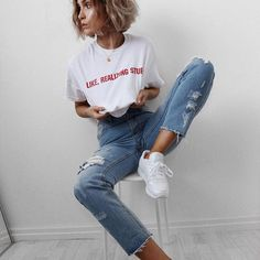 'The year of like, realizing stuff' jeans + tee from @missyempire link to them in my bio now